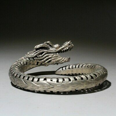 Qianlong Years Collectable Miao Silver Hand-Carved Exorcism Dragon Head Bracelet