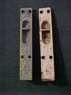 2 Eastlake Victorian Style Cast Iron Mortised Type Sliding Door Bolts
