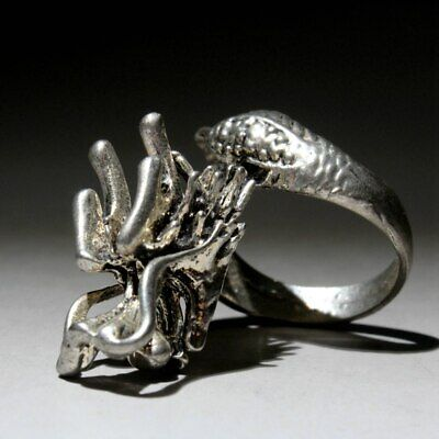 Collectable China Old Miao Silver Hand-Carved Myth Dragon Auspicious Unique Ring