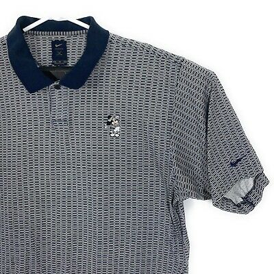 Nike Golf Mickey Mouse Polo Mens Sz XL Embroidered Disney Gray Blue Cotton Shirt