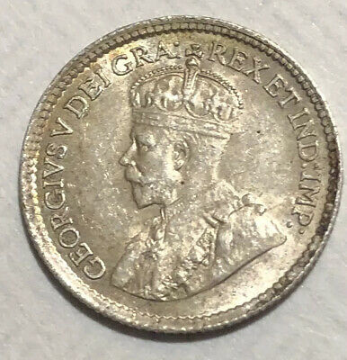 Uncirculated 1918 Canada Sterling Silver Five Cent Coin.  High Value Coin