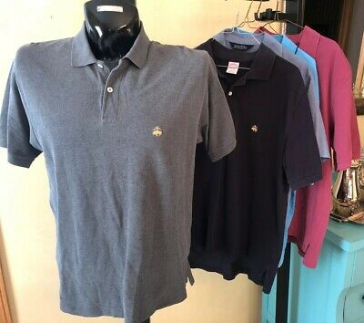 LOT OF 5 Brooks Brothers Mens Sz Medium Polo Shirts, Grey, Black, Burgundy Blue