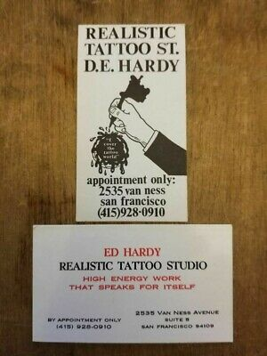 2 Ed Hardy Realistic Tattoo Tattoo Business Cards - ERNO Tattoo Appointments