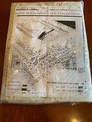Vintage NOS Madrid Lace Ivory Tablecloth Scalloped Design  60x 120 Rectangle