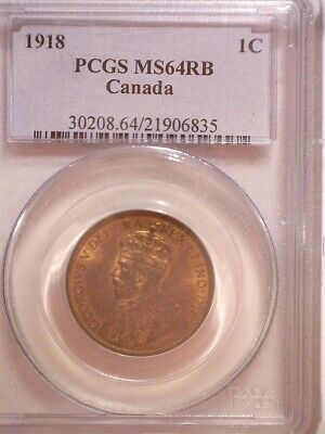 1918 PCGS MS64RB Canada Large One Cent, Old Blue Holder - Penny 1C,  Lots of RED