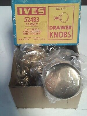 Vintage Brass Drawer Knobs Farm House Box Of 10 Ives New Old Stock