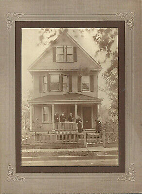 1900-1910 Plainville Conn Family On Front Porch Of Victorian Home Cabinet Photo