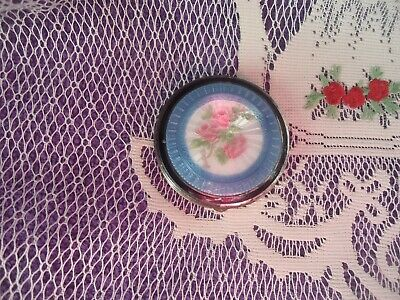 VTG/Antique Guilloche Enamel Blue-Pink Florals n White with Mirror Compact