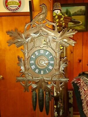 Vtg Sears Roebuck & Co BLACK FOREST Carved Wood WHIPORWILL & CUCKOO CLOCK German