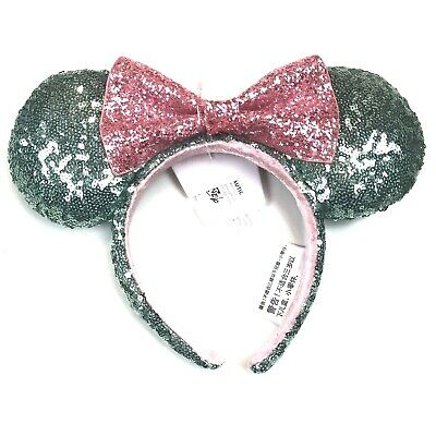 Disney Parks Adult Green Pink Minnie Mouse Sequined Ears Sugar Rush Headband O/S