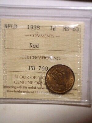 1938 Newfoundland One Cent ICCS graded full RED and LUSTER - NFLD - 1C