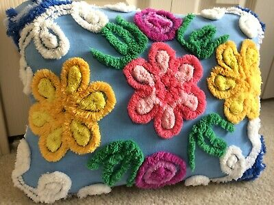 Yellow Pink Flower Blue Throw Pillow Case from Vintage Chenille Bedspread 12x16