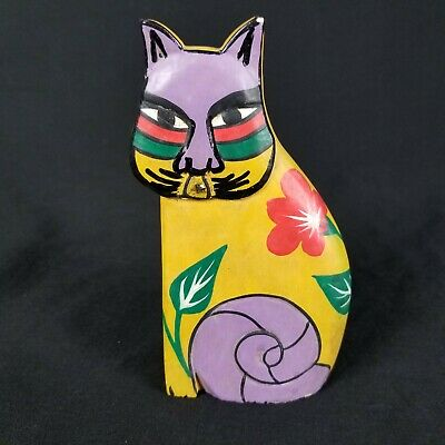 Vintage Hand Carved Cat Whittled Wood Primitive Folk Art Painted Tribal Floral