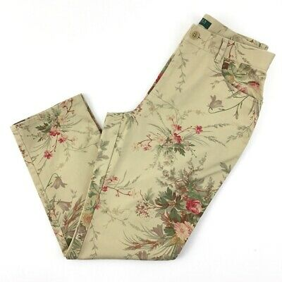 RLR Ralph Lauren Womens Straight Leg Pants Beige Floral Pocket Stretch Petite 8P
