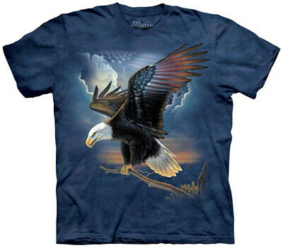 American Flag Patriot Eagle Bird T-Shirt The Mountain L Shirt Size Large NEW