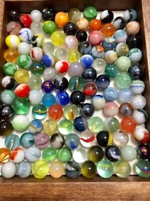 """large group of (100+) mixed marbles-many old, 5/8""""(+r-) mint/near mint"""