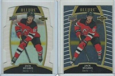 2019-20 Upper Deck Allure White Rainbow and Base Rookie #100 Jack Hughes RC