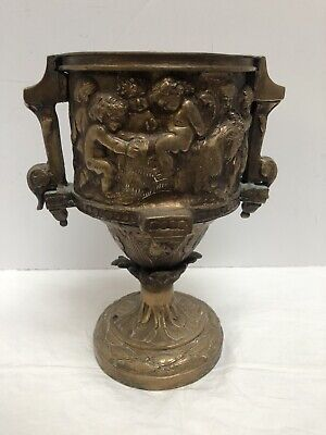 Antique Beautiful Bronze Art Nouveau Cherubs Vase Handled