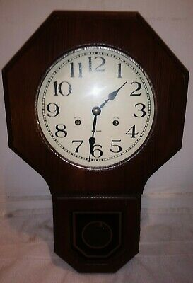 . Rare Vintage Commodore School House 35 Day Pendulum Wall Clock