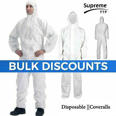 Disposable Coveralls Overalls Boilersuit Hood Painters Protective Suit (WHITE)