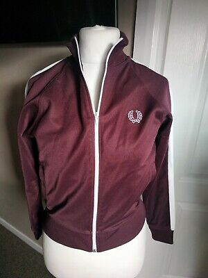 Fred Perry Youth Zip Up Jacket Top Size M Burgundy Short Cropped