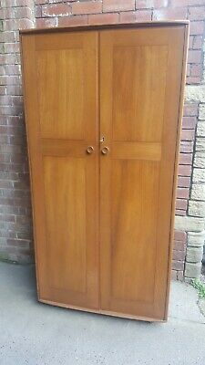 Ercol 1950s Elm Blonde Mid Century Wardrobe on castors with Key Ercol blue label