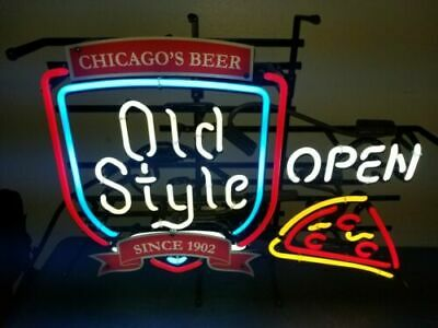 Old style beer Chicago open pizza Neon Sign Bed Room Home Decor Beer Bar Light