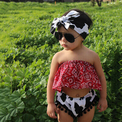 Summer Kids Baby Girl Off Shoulder Strapless Crop Tops+Headscarf+Shorts Outfits