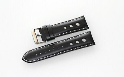 Roder Genuine Leather Black White Stitch Band Wrist Watch Strap Perforated 24 mm
