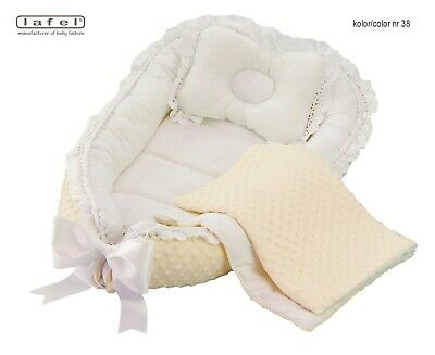 Elegant, exclusive baby nest, cocoon, decorated with guipure lace, 4 parts Lafel