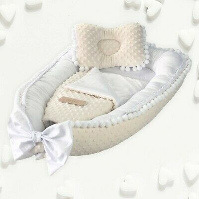 Elegant, exclusive baby nest, cocoon, decorated with guipure lace, 4 parts. Cott