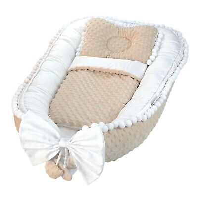 Elegant, exclusive baby nest, cocoon,  decorated with decorative pompoms Lafel