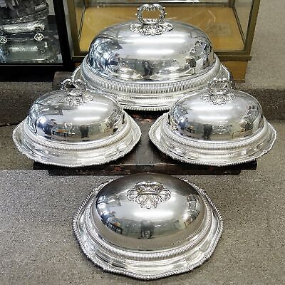 9134 Antique Silver Meat Dishes with Dome Covers