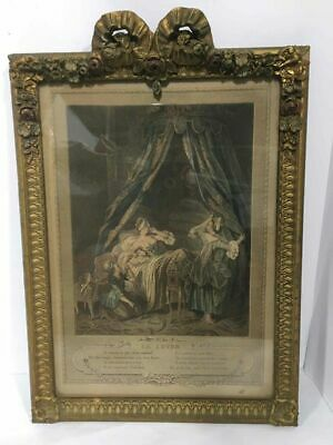 Antique French Hand Carved Gold Gilt framed Colored Engraving Le Lever -1800's