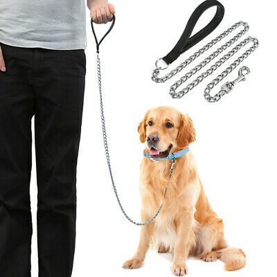 Heavy Dog Chain Leash Lead for Large Dogs for Bulldog Pitbull Leather Handle USA