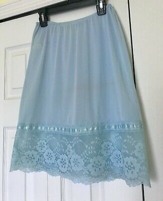 Vintage KAYSER Blue Half Slip With Lace, Small