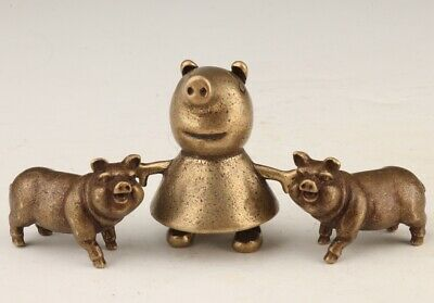 3 Retro China Bronze Statue Solid Pig Mascot Decorated Collection Gift Old