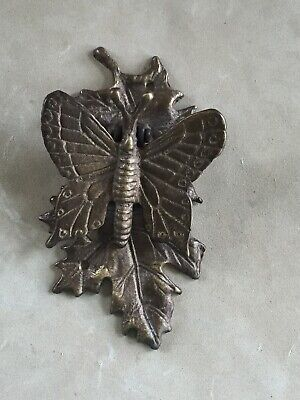 "Vintage Door Knocker ~  Cast Brass ~ Butterfly on Leaf  ~ 3"" x 6"" Door Hardware"