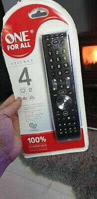 One For All Essence 4 Universal Remote Control - Black . New just packaging open