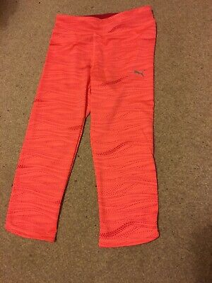 Girls Puma Coral & Pink Cropped Legging Size 11-12 Years