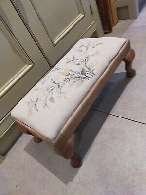 Vintage hardwood tapestry topped stool - upholstery project?