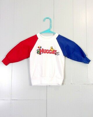 vtg 80s HUGGIES baby toddler Diapers Brand Colorblock Sweatshirt Raglan 3T