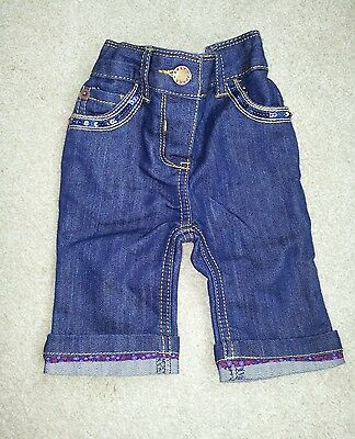 Girls Ted Baker dark blue denim jeans age 0 - 3 months Newborn NEW