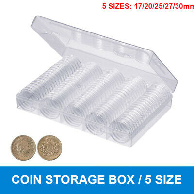 Coins Display Storage Box Case Collectible Coin 17-30mm 5 Sizes W/ 100 Capsules