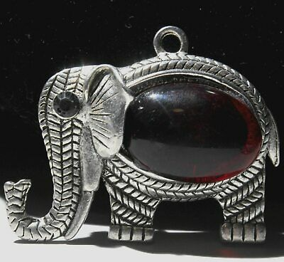 Collectable Chinese Handwork Old Miao Silver Elephant Mosaic Agate Lucky Pendant