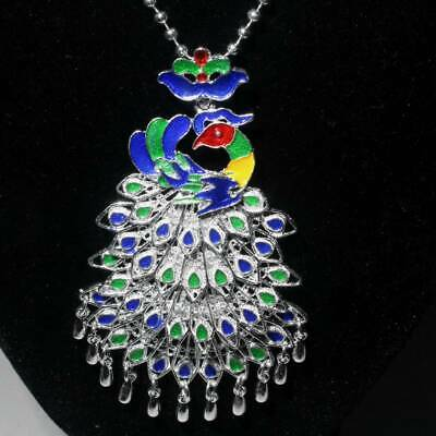 Collect China Old Miao Silver Cloisonne Hand-Carved Peacock Beautiful Necklace