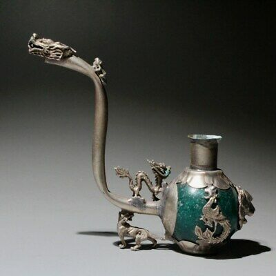 Collectable China Old Miao Silver & Jade Hand-Carved Dragon Phoenix Unique Pipe