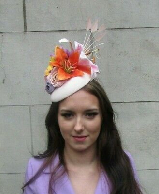 Light Nude Blush Pink Orange Yellow Statement Flower Feather Hat Fascinator 0001