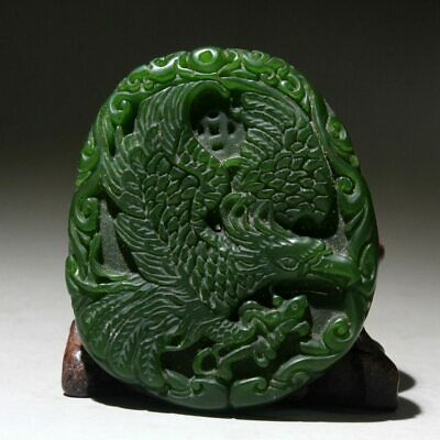 Collection Handwork Jade Hand-Carved Butterfly Delicate Eagle Auspicious Pendant