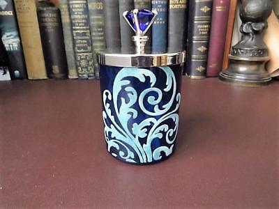 Vintage Blue Glass Cotton Wool Ball Holder Blue Stone Finial Plated Lid